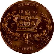 Australia 5 S. Restrike 2006 1830 (2006) X# 3b SYDNEY 1830 5 S. NEW SOUTH WALES coin reverse