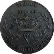 Australia 5 S. Restrike 2006 1830 (2006) X# 3d SYDNEY 1830 5 S. NEW SOUTH WALES coin reverse