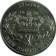 Australia 5 S. Restrike 2006 1830 (2006) X# 2 SYDNEY 5 S. NEW SOUTH WALES coin reverse