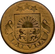 Latvia 5 Santimi 1922 Without name below ribbon KM# 3 First Republic (1918-1939) LATVIJA coin obverse
