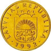 Latvia 5 Santimi 1992 KM# 16 Standart Coinage LATVIJAS REPUBLIKA YEAR coin obverse