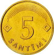 Latvia 5 Santimi 1992 KM# 16 Standart Coinage 5 SANTĪMI coin reverse