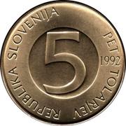 Slovenia 5 Tolarjev 1992 KM# 6 Standart Coinage REPUBLIKA SLOVENIJA PET TOLARJEV 5 2000 coin obverse