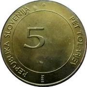 Slovenia 5 Tolarjev 50th Anniversary of F.A.O. (1995) KM# 21 REPUBLIKA SLOVENIJA 5 PET TOLARJEV 1995 coin obverse