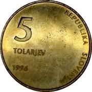 Slovenia 5 Tolarjev 5th anniversary of Independence 1996 KM# 32 5 TOLARJEV 1996 REPUBLIKA SLOVENIJA coin obverse