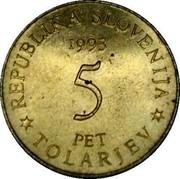 Slovenia 5 Tolarjev Battle of Sisek 1993 KM# 9 REPUBLIKA SLOVENIJA 1993 5 PET * TOLARJEV * coin obverse