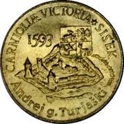 Slovenia 5 Tolarjev Battle of Sisek 1993 KM# 9 CARNIOLIAE VICTORIA * SISEK 1593 ANDREJ G • TURJASKI coin reverse