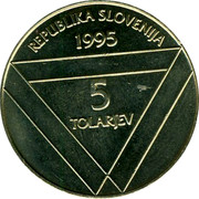 Slovenia 5 Tolarjev Centennial of Erection of Aljaz Tower 1995 KM# 26 REPUBLIKA SLOVENIJA 1995 5 TOLARJEV coin obverse