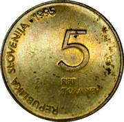 Slovenia 5 Tolarjev Defeat of Fascism 1995 KM# 22 REPUBLIKA SLOVENIJA ∙ 1995 5 PET TOLARJEV coin obverse