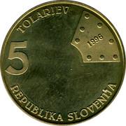 Slovenia 5 Tolarjev First railway in Slovenia 1996 KM# 29 5 TOLARJEV 1996 REPUBLIKA SLOVENIJA coin obverse