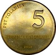 Slovenia 5 Tolarjev Glagolitic Alphabet 1994 KM# 16 PET TOLARJEV 5 REPUBLIKA SLOVENIJA 1994 coin obverse