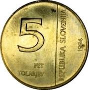 Slovenia 5 Tolarjev Monetary Institute of Slovenia 1994 KM# 15 5 PET TOLARJEV REPUBLIKA SLOVENIJA 1994 coin obverse