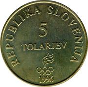 Slovenia 5 Tolarjev Olympics Centennial 1996 KM# 33 REPUBLIKA SLOVENIJA 5 TOLARJEV 1996 coin obverse