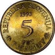 Slovenia 5 Tolarjev Operosorum Labacensium Academy 1993 KM# 12 REPUBLIKA SLOVENIJA 1993 5 PET *TOLARJEV* coin obverse