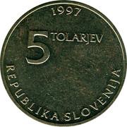 Slovenia 5 Tolarjev Sigmund Zois 1997 KM# 38 1997 5 TOLARJEV REPUBLIKA SLOVENIJA coin obverse