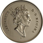 Canada 50 Cents Coat of arms - Elizabeth II (3rd portrait) 2001 P KM# 290b ELIZABETH II D ∙ G ∙ REGINA coin obverse