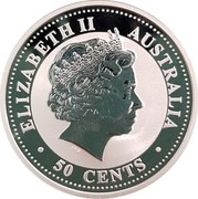 Australia 50 Cents Colorized Year of the Dog 2006  ELIZABETH II AUSTRALIA • 50 CENTS • IRB coin obverse