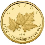 Canada 50 Cents Red Maple 2009 Proof KM# 888 CANADA 9999 FINE GOLD 1 OZ OR PUR coin reverse