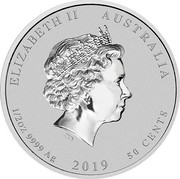 Australia 50 Cents Year of the Pig (In Color) 2019 ELIZABETH II AUSTRALIA 1/2OZ 9999 AG 2019 50 CENTS coin obverse