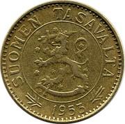 Finland 50 Markkaa 1953 H KM# 40 Decimal Coinage SUOMEN TASAVALTA DATE coin obverse