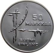 Finland 50 Markkaa World Ice Hockey Championship Games 1982 K-T KM# 60 50 MARKKAA T SUOMI FINLAND coin obverse