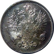 Finland 50 Pennia Crowned eagle 1916 S KM# 2.2 coin obverse