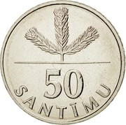 Latvia 50 Santimu 1992 KM# 13 Standart Coinage 50 SANTĪMU coin reverse