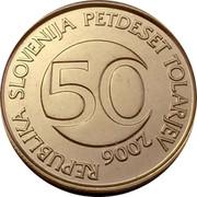 Slovenia 50 Tolarjev 2006 Proof KM# 52 Standart Coinage REPUBLIKA SLOVENIJA PETDESET TOLARJEV 50 YEAR coin obverse