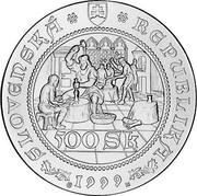 Slovakia 500 Korun 500 years of stricking first Thaller in Kremnica 1999 Proof KM# 50 SLOVENSKÁ REPUBLIKA 500 SK 1999 coin obverse