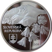 Slovakia 500 Korun Low Tatras National Park 2008 Proof KM# 106 SLOVENSKÁ REPUBLIKA 2008 coin obverse