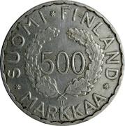 Finland 500 Markkaa Olympic Games 1952 H KM# 35 SUOMI FINLAND 500 MARKKAA coin reverse
