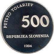 Slovenia 500 Tolarjev 1000th Anniversary Glagolitic Alphabet 1994 Proof KM# 19 PETSTO TOLARJEV 500 REPUBLIKA SLOVENIJA 1994 coin obverse