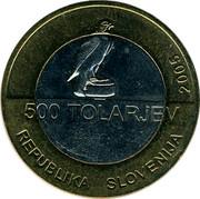 Slovenia 500 Tolarjev 100th Anniversary of Slovenian Sports Association 2005 KM# 63 500 TOLARJEV REPUBLIKA SLOVENIJA 2005 coin obverse
