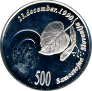 Slovenia 500 Tolarjev 1st Anniversary of Independence 1991 Proof KM# 1 23 DECEMBER 1990 500 SAMOSTOJNA SLOVENIJA coin reverse