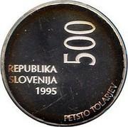 Slovenia 500 Tolarjev 50th Anniversary of F.A.O. 1995 Proof KM# 25 REPUBLIKA SLOVENIJA 1995 500 PETSTO TOLARJEV coin obverse