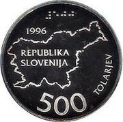 Slovenia 500 Tolarjev 5th Anniversary of Independence 1996 Proof KM# 34 1996 REPUBLIKA SLOVENIJA 500 TOLARJEV coin obverse