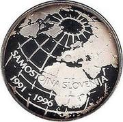 Slovenia 500 Tolarjev 5th Anniversary of Independence 1996 Proof KM# 34 SAMOSTOJNA SLOVENIJA 1991 - 1996 coin reverse