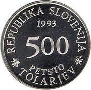 Slovenia 500 Tolarjev Academia Operosorum Labacensium 1993 Proof KM# 13 REPUBLIKA SLOVENIA 1993 500 PETSTO TOLARJEV coin obverse