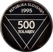 Slovenia 500 Tolarjev Aljaz Tower 1995 Proof KM# 27 REPUBLIKA SLOVENIJA 1995 500 TOLARJEV coin obverse