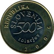 Slovenia 500 Tolarjev Anton Tomaz Linhart 2006 KM# 65 REPUBLIKA SLOVENIJA 500 TOLARJEV 2006 coin obverse