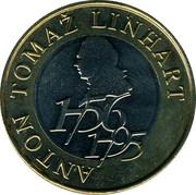 Slovenia 500 Tolarjev Anton Tomaz Linhart 2006 KM# 65 ANTON TOMAŽ LINHART 1756 1795 coin reverse
