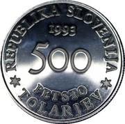 Slovenia 500 Tolarjev Battle of Sisek 1993 Proof KM# 10 REPUBLIKA SLOVENIJA 1993 500 PETSTO TOLARJEV coin obverse