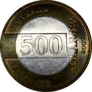 Slovenia 500 Tolarjev FIFA World Cup 2002 2002 KM# 45 REPUBLIKA SLOVENIJA 500 TOLARJEV 2002 coin obverse