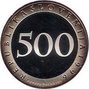 Slovenia 500 Tolarjev First Railway in Slovenia 1996 Proof KM# 30 REPUBLIKA SLOVENIJA 1996 500 PETSTO TOLARJEV coin obverse