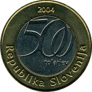 Slovenia 500 Tolarjev Jurij Vega 2004 KM# 57 2004 500 TOLARJEV REPUBLKA SLOVENIJA coin obverse