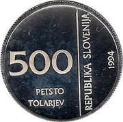 Slovenia 500 Tolarjev Monetary Institute of Slovenia 1994 Proof KM# 17 500 PETSTO TOLARJEV REPUBLIKA SLOVENIJA 1994 coin obverse
