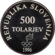 Slovenia 500 Tolarjev Olympic Centennial 1996 Proof KM# 36 REPUBLIKA SLOVENIJA 500 TOLARJEV 1996 coin obverse