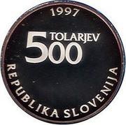 Slovenia 500 Tolarjev Sigmund Zois 1997 Proof KM# 39 1997 TOLARJEV 500 REPUBLIKA SLOVENIJA coin obverse