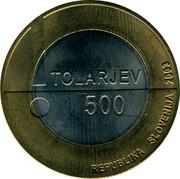 Slovenia 500 Tolarjev Year of Disabled People 2003 KM# 50 TOLARJEV 500 REPUBLIKA SLOVENIJA 2003 coin obverse