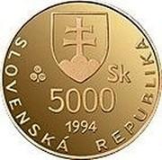 Slovakia 5000 Korun 1100th Anniversary - Death of Moravian King Svatopluk 1994 Proof KM# 29 SLOVENSKÁ REPUBLIKA 5000 SK 1994 coin obverse